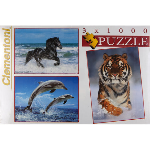 Assorted Animals Set of 3 1000-Piece Puzzles
