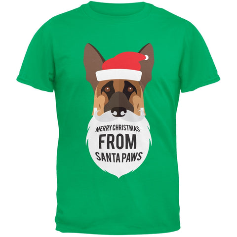 German Shepard Santa Ugly Christmas Sweater Green T-Shirt