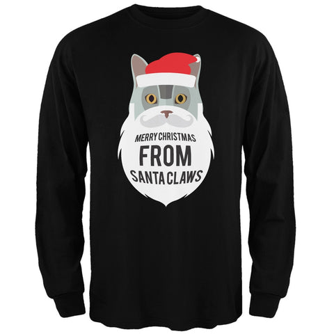 Grey Cat Santa Ugly Christmas Sweater Black Long Sleeve T-Shirt