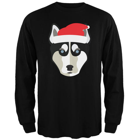 Husky Santa Christmas Black Adult Long Sleeve T-Shirt