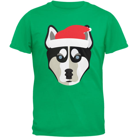 Husky Santa Christmas Green Adult T-Shirt
