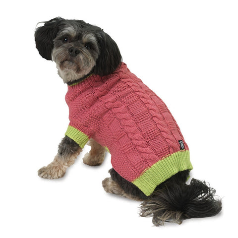Cody's Pink Chunky Cable Dog Sweater