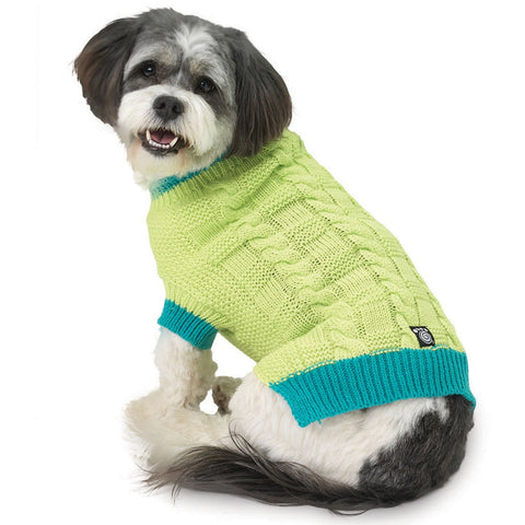 Cody's Green Chunky Cable Dog Sweater