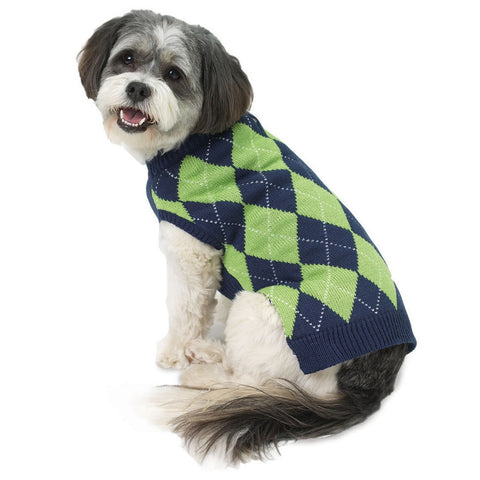Alex's Navy Argyle Dog Sweater
