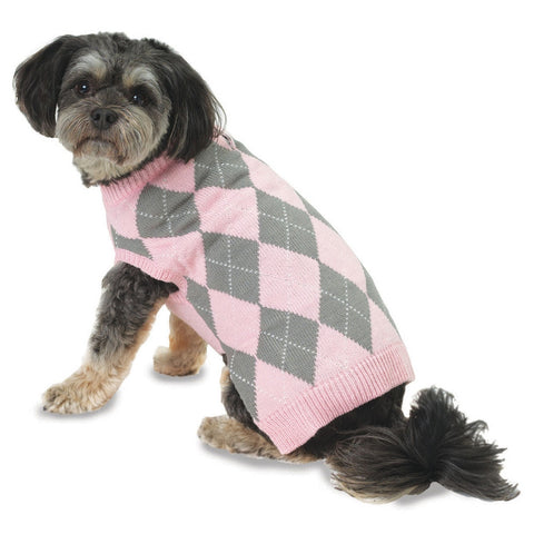 Alex's Pink Argyle Dog Sweater