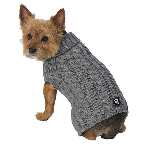 Marley's Grey Cable Dog Sweater