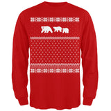 Polar Bears Ugly Christmas Sweater Red Long Sleeve T-Shirt