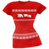 Polar Bears Ugly Christmas Sweater Red Juniors T-Shirt