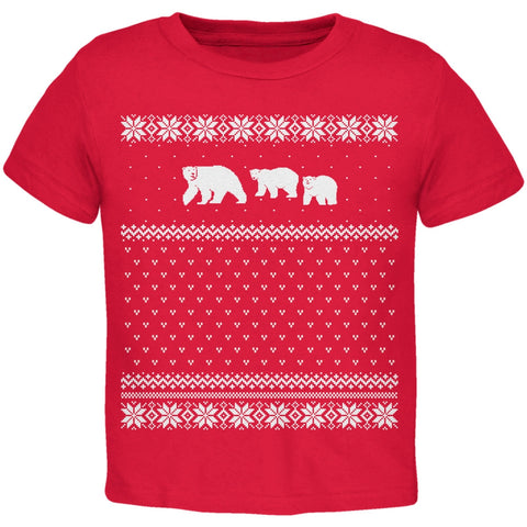 Polar Bears Ugly Christmas Sweater Red Toddler T-Shirt