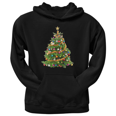 Cats In Christmas Tree Black Adult Hoodie