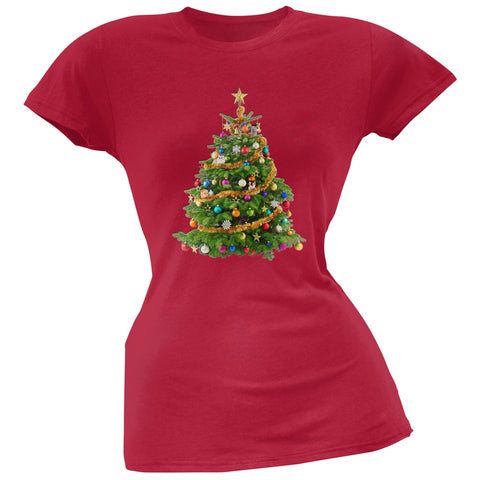 Cats In Christmas Tree Red Juniors Soft T-Shirt