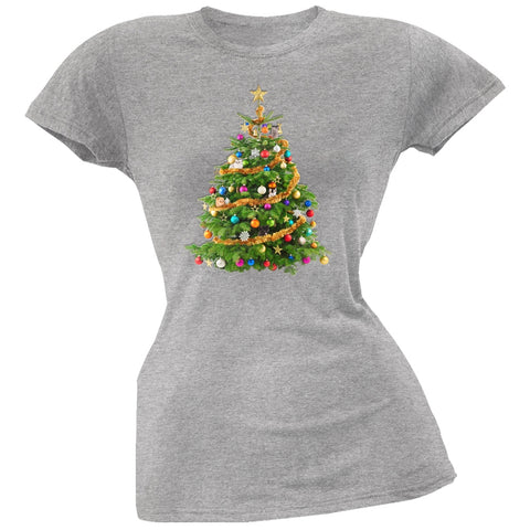 Cats In Christmas Tree Grey Juniors Soft T-Shirt