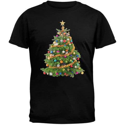 Cats In Christmas Tree Black Adult T-Shirt