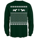 Dachshund Ugly Christmas Sweater Green Adult Long Sleeve T-Shirt