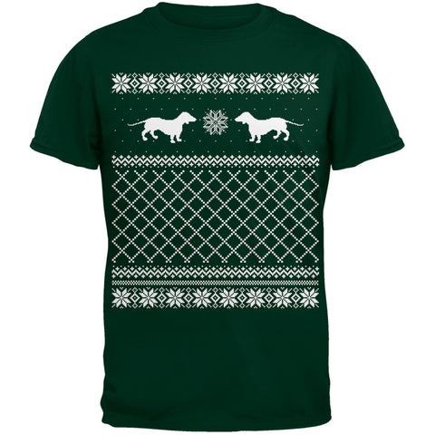 Dachshund Ugly Christmas Sweater Green Adult T-Shirt