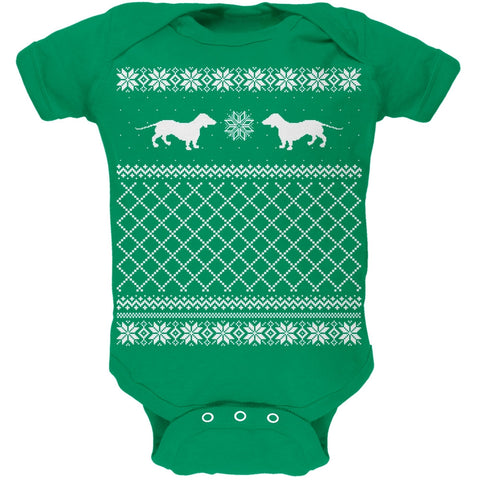 Dachshund Ugly Christmas Sweater Green Baby One Piece