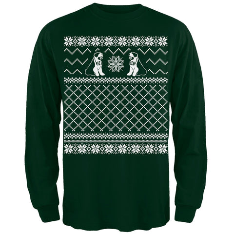 Saint Bernard Ugly Christmas Sweater Green Adult Long Sleeve T-Shirt