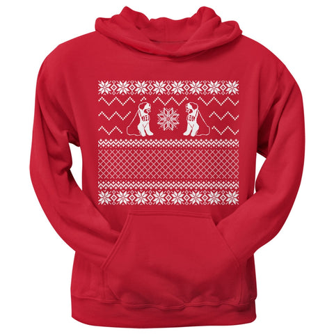 Saint Bernard Ugly Christmas Sweater Red Pullover Hoodie