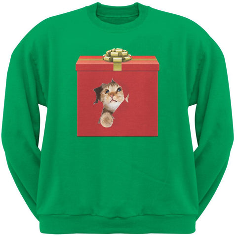 Christmas Present Cat Green Crew Neck Sweatshirt