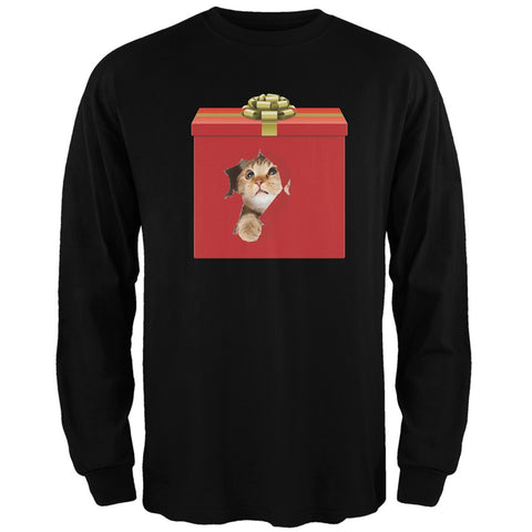 Christmas Present Cat Black Adult Long Sleeve T-Shirt