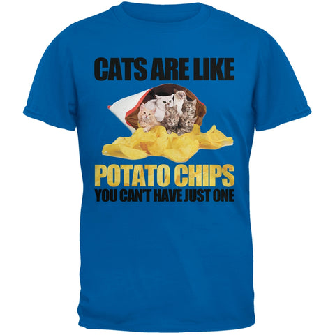 Cats Are Like Potato Chips Blue T-Shirt