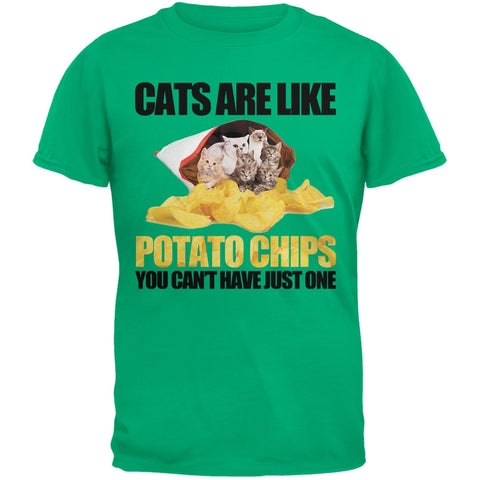 Cats Are Like Potato Chips Youth Green T-Shirt