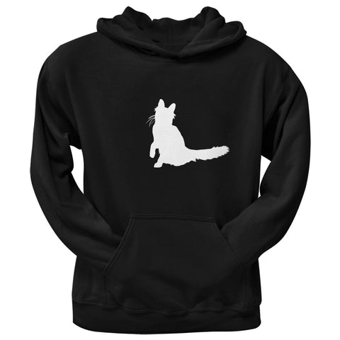 Angora Cat Silhouette Black Adult Pullover Hoodie