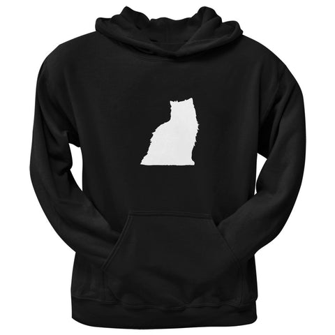 Persian Cat Silhouette Black Adult Pullover Hoodie