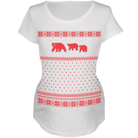 Polar Bears Ugly Christmas Sweater Womens Maternity T-Shirt