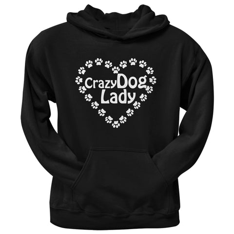 Crazy Dog Lady Paw Heart Black Adult Pullover Hoodie