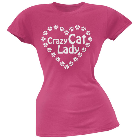 Crazy Cat Lady Paw Heart Pink Soft Juniors T-Shirt