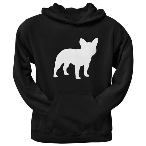 French Bulldog Silhouette Black Adult Hoodie