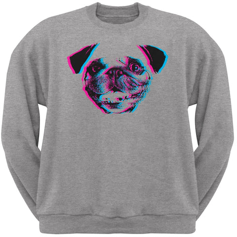 3D Pug Face Grey Adult Crew Neck Sweatshirt
