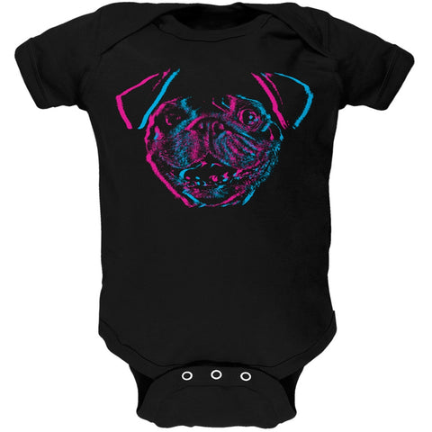3D Pug Face Black Baby One Piece