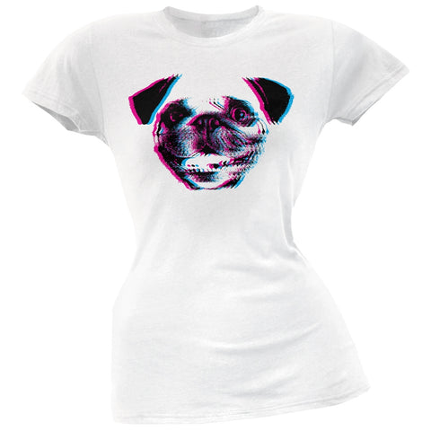 3D Pug Face White Soft Juniors T-Shirt