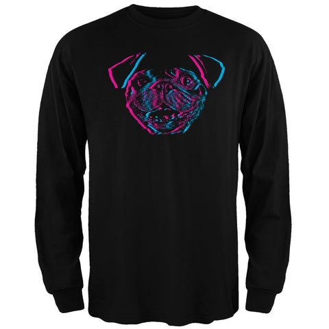 3D Pug Face Black Adult Long Sleeve T-Shirt