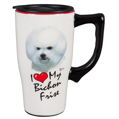 Bichon Frise I Heart Ceramic Travel Mug