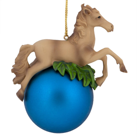 Horse on Blue Ball Christmas Ornament