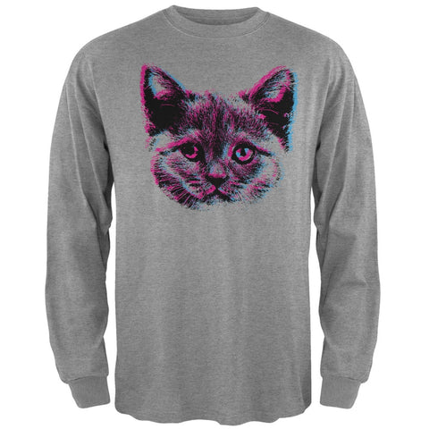3D Cat Face Black Adult Long Sleeve T-Shirt