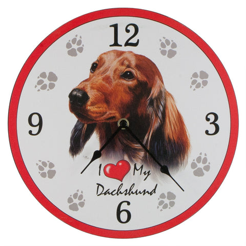 I Heart My Dachshund Wall Clock