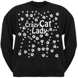 Crazy Cat Lady Paw Prints Black Adult Crew Neck Sweatshirt