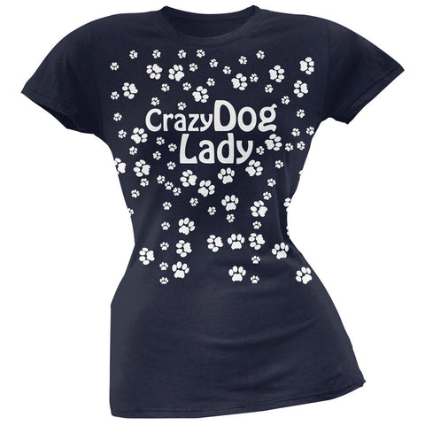 Crazy Dog Lady Paw Prints Navy Soft Juniors T-Shirt