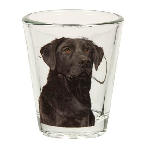 Black Labrador Portrait Shot Glass
