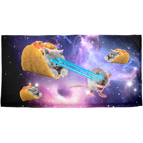 Taco Cat Laserbeam Sublimated Plush Beach Towel