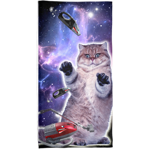 Galaxy Cat Vacuum Attack Sublimated Plush Beach Towel