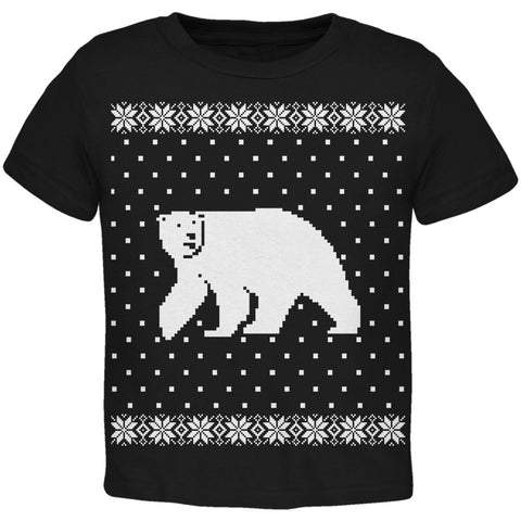 Big Polar Bear Ugly Christmas Sweater Black Toddler T-Shirt