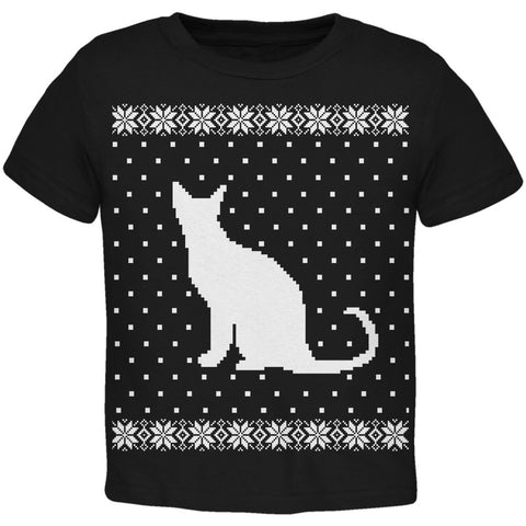 Big Cat Ugly Christmas Sweater Toddler T-Shirt