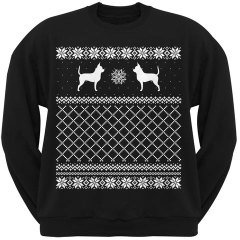 Chihuahua Black Adult Ugly Christmas Sweater Crew Neck Sweatshirt