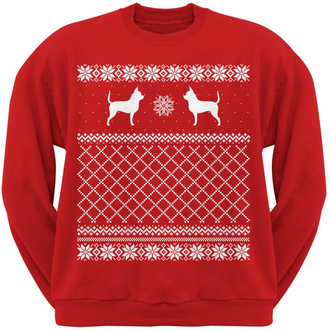 Chihuahua Red Adult Ugly Christmas Sweater Crew Neck Sweatshirt