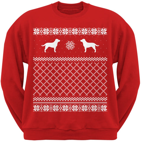 Chocolate Labrador Retriever Red Adult Ugly Christmas Sweater Crew Neck Sweatshirt